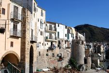 Old Town Cefalu In Sicily Stock Photos