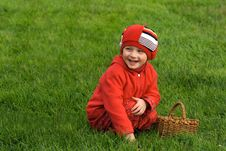 Free The Child Sits On A Grass Royalty Free Stock Photos - 3182278