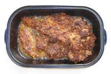 Pan With Pork Meat Royalty Free Stock Photography