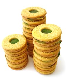 Cookies With Kiwi Jelly Stock Images