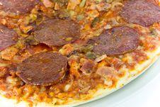 Free Salami Pizza-isolated On White Stock Photos - 3186283