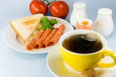 Free Breakfast With Red Tea,boiled Royalty Free Stock Photography - 3186287