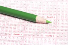 Free Lottery Ticket And Green Penci Stock Photos - 3186563