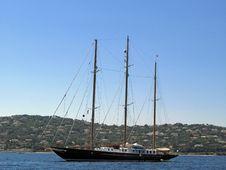 Three Mast Sailing Yacht Royalty Free Stock Images