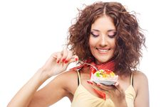Lovely Woman With A Jelly Cake Royalty Free Stock Image