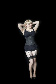 Free Beautiful Young Woman With Blond Hairin Black Corset Stock Photos - 31806143