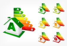 Free Different Energy Efficiency Rating And House Stock Photography - 31808152
