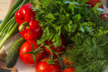 Free Healthy Food- Red Paprika, Tomatoes, Cucumber, Parsley, Dill Stock Photo - 31817120
