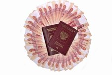 Free Russian Passports In The Background Banknotes Five Thousand Rubles Royalty Free Stock Photography - 31811317