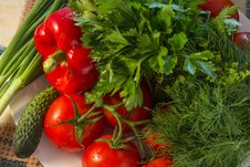 Healthy Food- Red Paprika, Tomatoes, Cucumber, Parsley, Dill Stock Photo