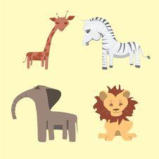 Free Set Of Cartoon Wild African Animals Stock Photo - 31820150