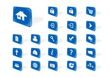 Blue Web Icons Royalty Free Stock Images