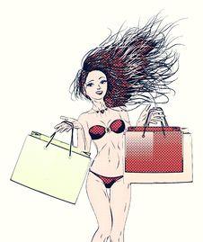 Free Halftone Shopping Bikini Girl Royalty Free Stock Photo - 31844125