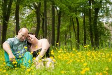 Free Happy Lovers In A Buttercup Field Stock Photography - 31850782