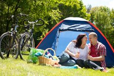 Free Happy Couple On A Camping Drinking Prosecco Stock Image - 31850941