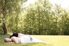 Free Romantic Couple Alone In The Field Royalty Free Stock Image - 31851006