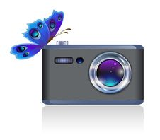 Camera And Butterfly. Royalty Free Stock Photo