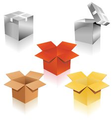Free Set Of Cardboard Boxes Of Different Colors Royalty Free Stock Photos - 31859818