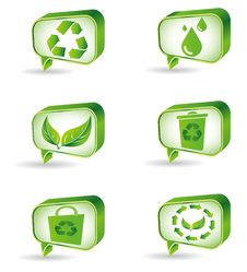 Set Of Green Ecology Icons Royalty Free Stock Photos
