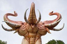 Three-headed Elephant Statue Royalty Free Stock Image