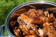 Free Cooking Chicken Wings At Outdoors Grill Stock Image - 31868561