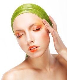 Free Charisma. Beautiful Woman In Light Green Bandana. Creative Glossy Makeup Royalty Free Stock Image - 31873406