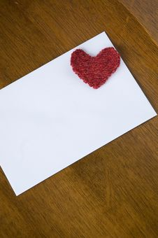 Free White Card With Red Heart Stock Images - 31874364