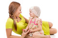 Free Happy Mother And Little Girl Lying On Floor And Smiling Royalty Free Stock Photos - 31888358