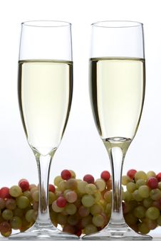 White Wine Glasses And Grapes