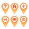 Free Set Of Orange Pointer Icons Royalty Free Stock Photography - 31889587
