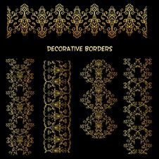 Free Golden Decorative Floral Borders. Royalty Free Stock Photo - 31897575