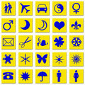 Free Blue Icons On Yellow Squares Stock Photography - 3193472