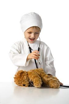 Free Child Plays The Doctor Stock Photo - 3190340