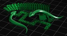 Free Green Domino With Two Monsters Stock Images - 3190564