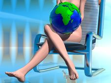 Free Girl With Globes Royalty Free Stock Image - 3192206