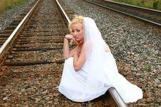 Free Bride On The Railroad Tracks Royalty Free Stock Photos - 3192898