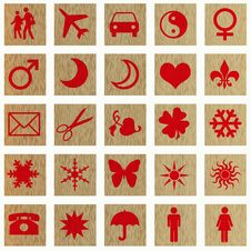 Free Red Icons On Wooden Squares Stock Photos - 3193463