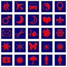 Red Icons On Blue Squares Royalty Free Stock Photos