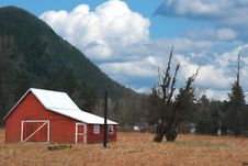 Free Red Barn With Cloudy Blue Sky Royalty Free Stock Photo - 3194475