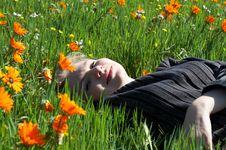 Free Blonde Woman In Flower Field Stock Photo - 3194870