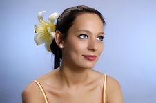 Free The  Girl With A Lily In Hair Royalty Free Stock Photo - 3195555