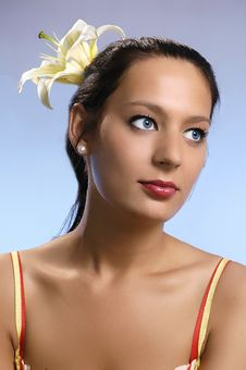Free The  Girl With A Lily In Hair Stock Photo - 3195570