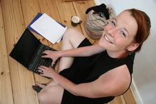 Free Young Woman With Laptop Smilin Stock Photo - 3195620