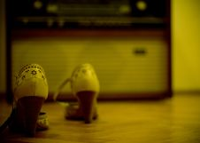 Shoes And An Old Radio Stock Photography