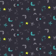 Free Pattern- Night And Moon Royalty Free Stock Photos - 3196508