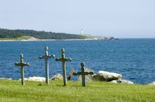 Free Four Crosses In Cemetry Stock Photos - 3196573