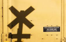 Railroad Crossing Sign Shadow Royalty Free Stock Images