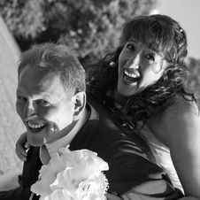 Free Happy Bridal Couple, Bw Royalty Free Stock Image - 3197926