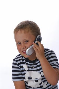 Free Young Boy With Phone Stock Photography - 3198752