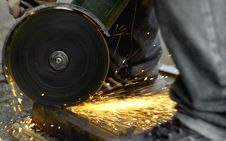 Free Angle Grinder Sparkles Royalty Free Stock Photo - 3199565